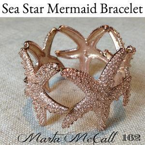 Jewelry - PINK Gold Toned Metal Sea Star Star Fish Bracelet